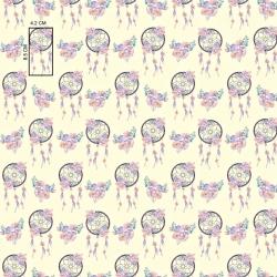 Tkanina w łapacz snów różowo fioletowy na ecru tle