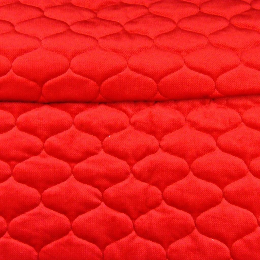 Velvet pikowany czerwony - bączki