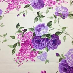 Tkanina kwiaty róże fioletowe