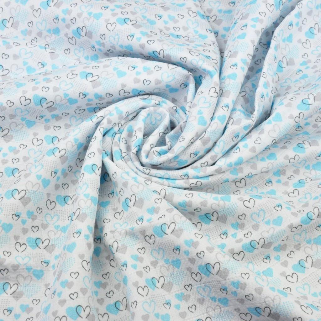 Muślin bawełniany serduszka szaro turkusowe na białym tle