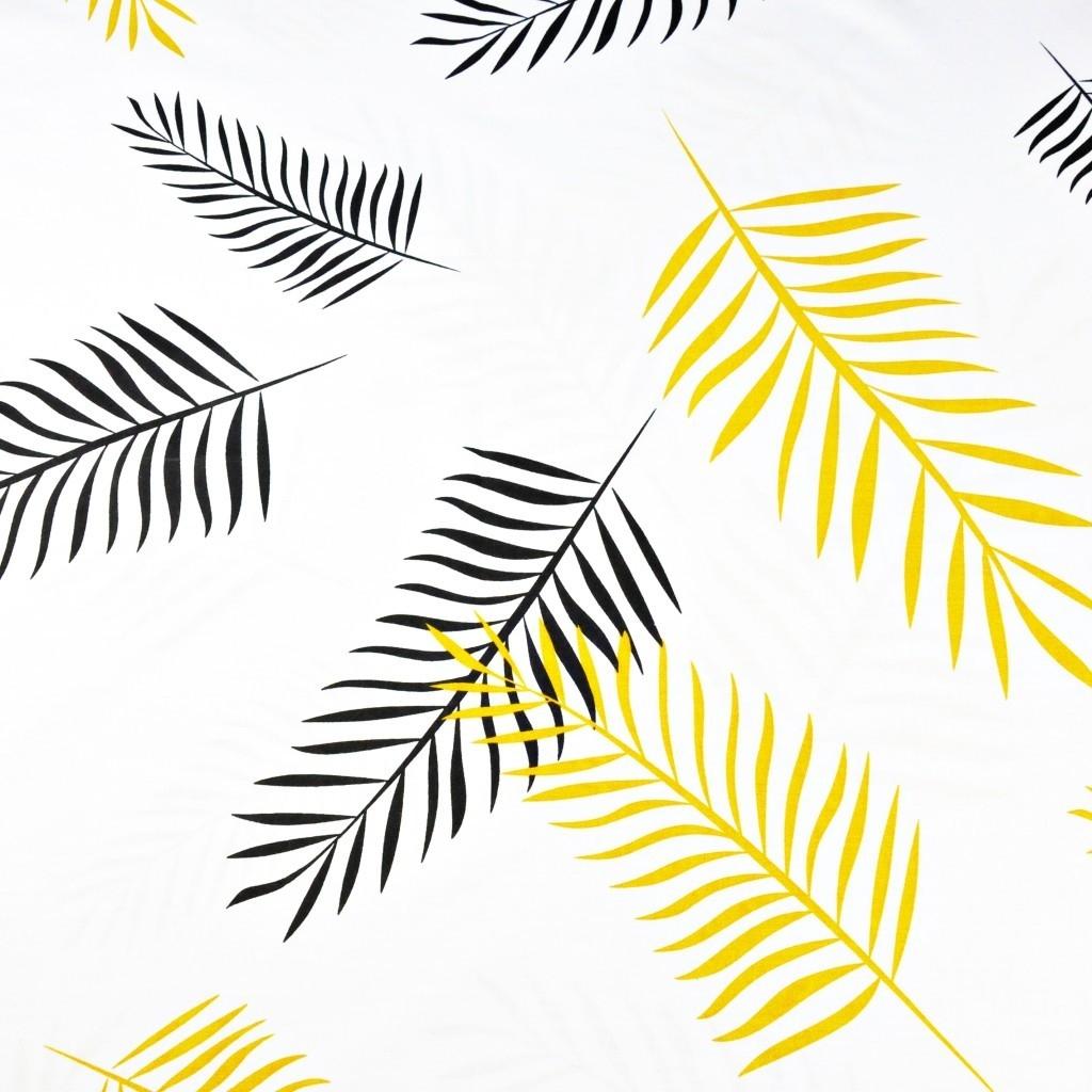 Tkanina liście czarno pomarańczowe na białym tle