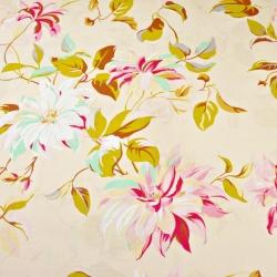 Tkanina kwiaty clematis na ecru tle - 220cm