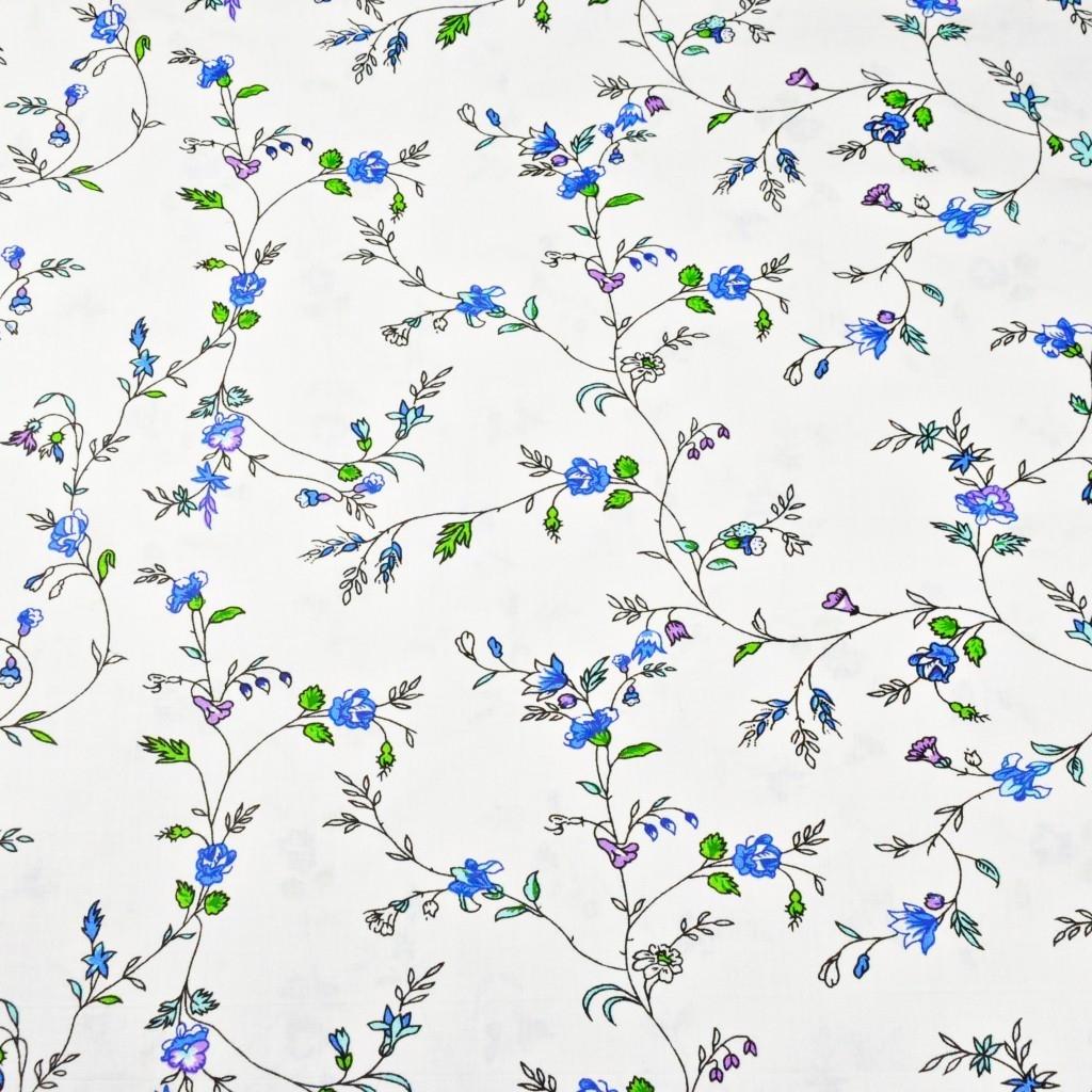 kwiaty goździki niebieskie na białym tle - 220cm