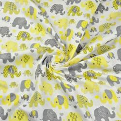 Tkanina w Słonie indyjskie MINI szaro żółte na białym tle