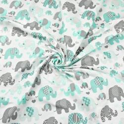 Tkanina w Słonie indyjskie MINI szaro miętowe na białym tle