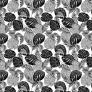 Tkanina w liście czarno szare na białym tle