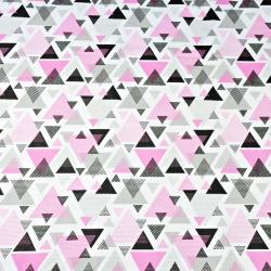 Tkanina w trójkąty w kropki różowo szare na białym tle