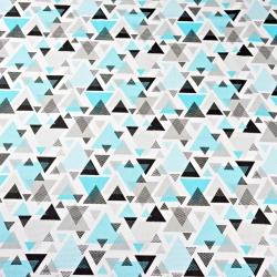 Tkanina w trójkąty w kropki turkusowo szare na białym tle
