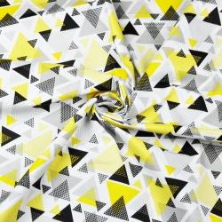 Tkanina w trójkąty w kropki żółto szare na białym tle