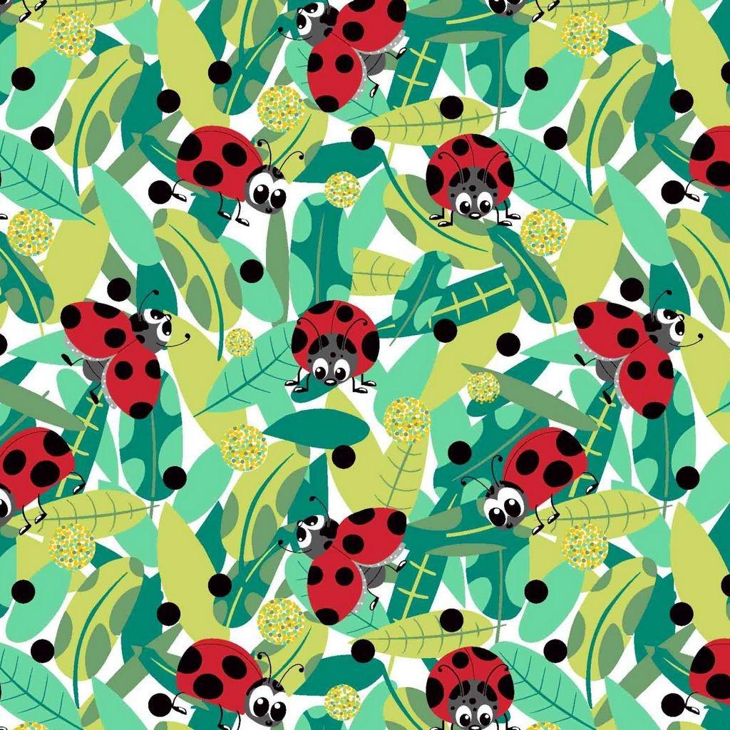 Tkanina biedronka czerwona z grochami czarnymi na białym tle