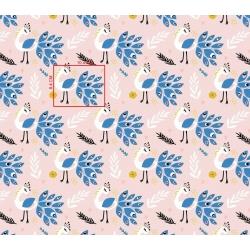 Imagén: Tkanina pawie z niebieskim na różowym tle