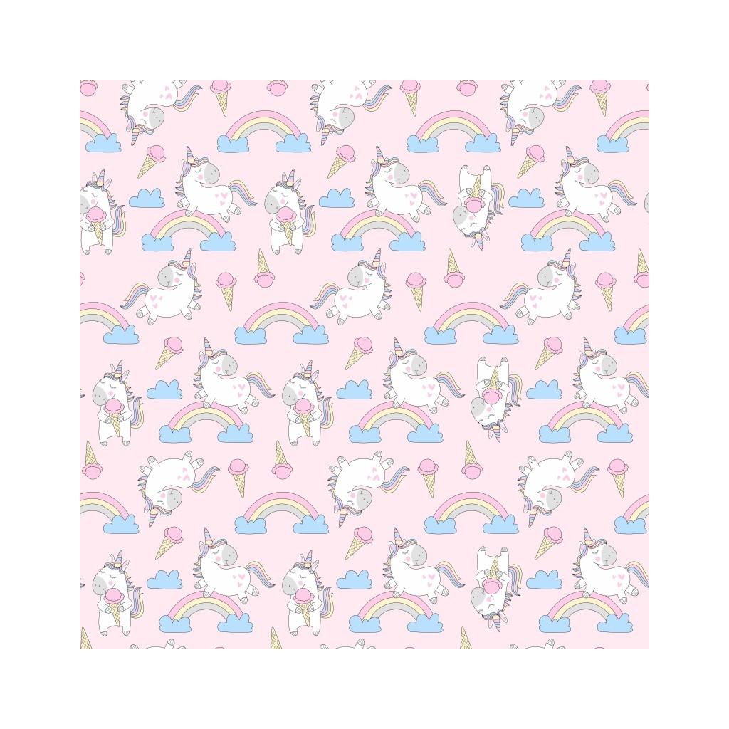 Tkanina w jednorożce z lodami na różowym tle