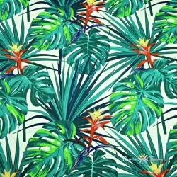 Tkanina w liście zielono-niebieskie na białym tle 220cm