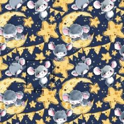Tkanina w myszki szare na granatowym tle