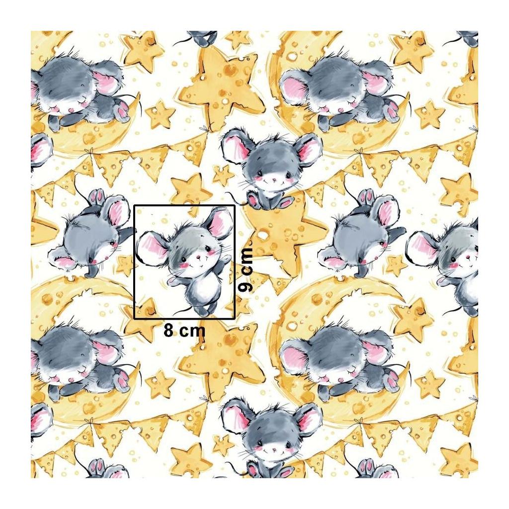 Tkanina w myszki szare na białym tle