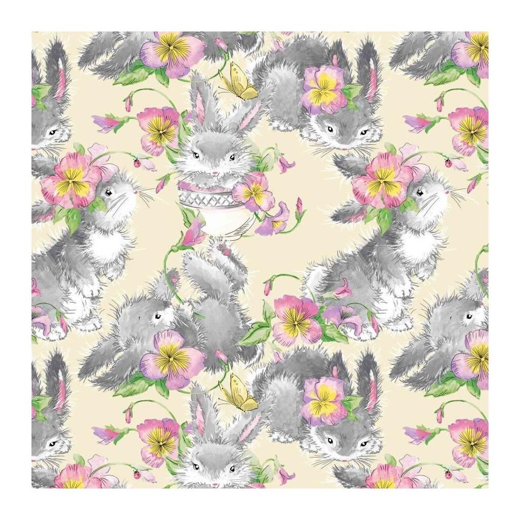 Tkanina króliki szare z kwiatkami na beżowym tle