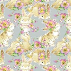 Tkanina króliki beżowe z kwiatkami na szarym tle