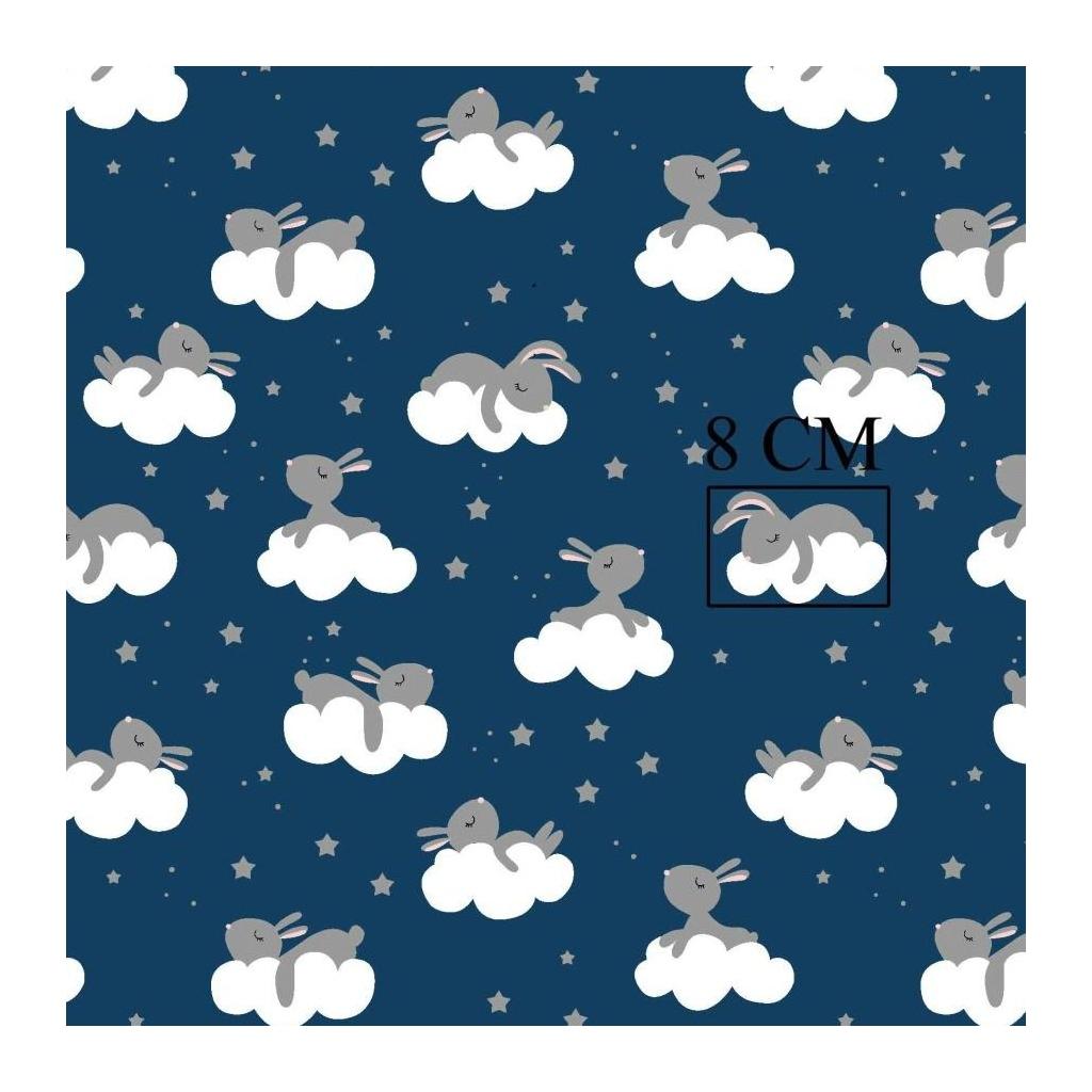 Tkanina króliki szare na chmurkach na granatowym tle