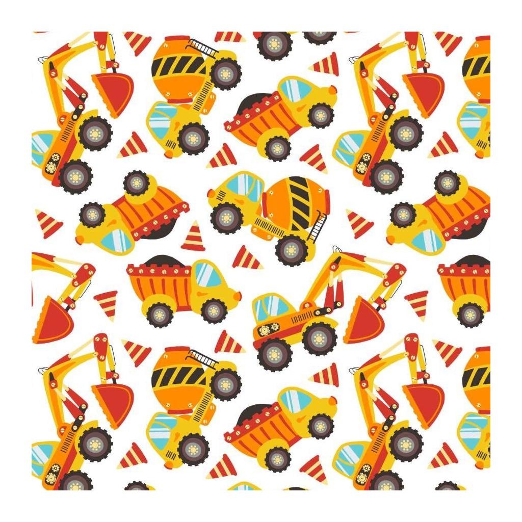 Tkanina koparki i betoniarki pomarańczowo-żółte na białym tle