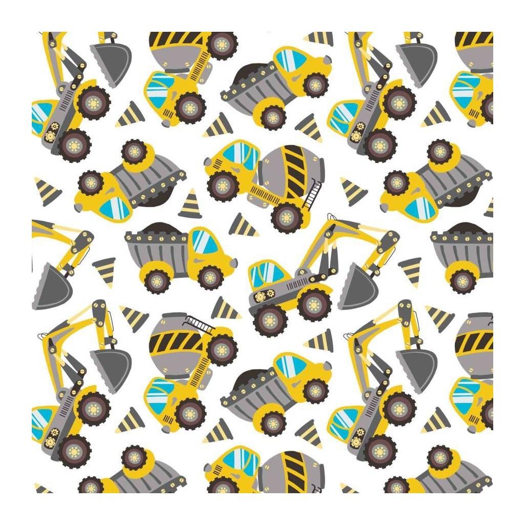 Tkanina koparki i betoniarki szaro-żółte na białym tle