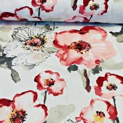 Tkanina Dekoracyjna drukowana w kwiaty maki malowane