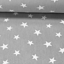 Tkanina Dekoracyjna drukowana w gwiazdki białe na szarym tle