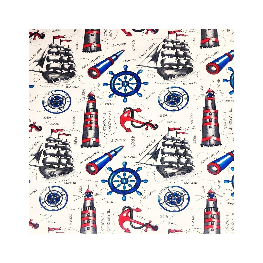 Tkanina w marynarskie statki i lunety na ecru tle