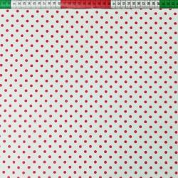 Elano Bawełna groszki czerwone na białym tle