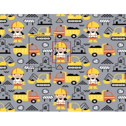 Tkanina budowniczy żółty na szarym tle
