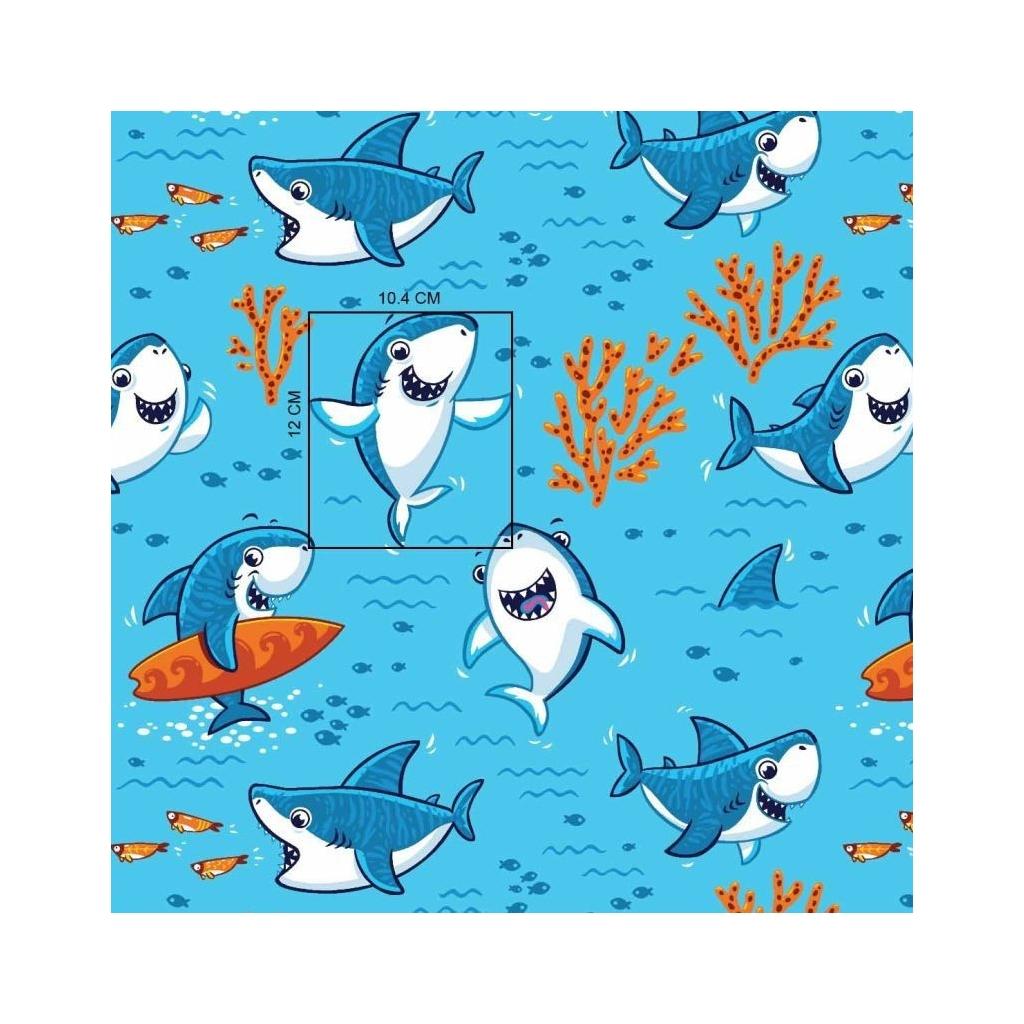 Tkanina rekiny na turkusowym tle