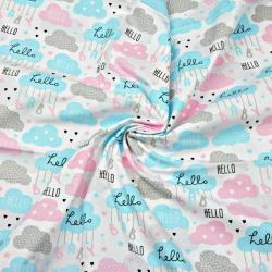 Tkanina chmurki hello niebiesko-szaro-różowe na białym tle