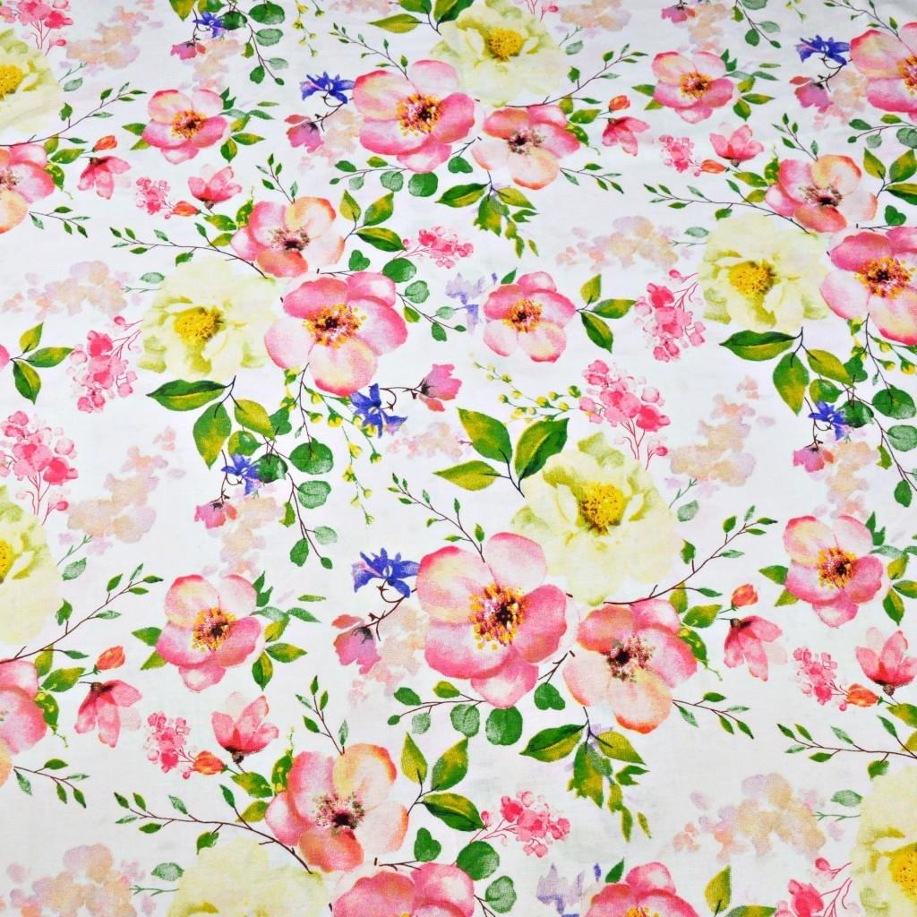 Tkanina w kwiaty jabłoni na białym tle 220cm
