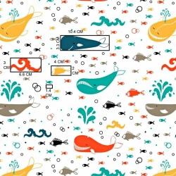 Imagén: wieloryby kolorowe na białym tle