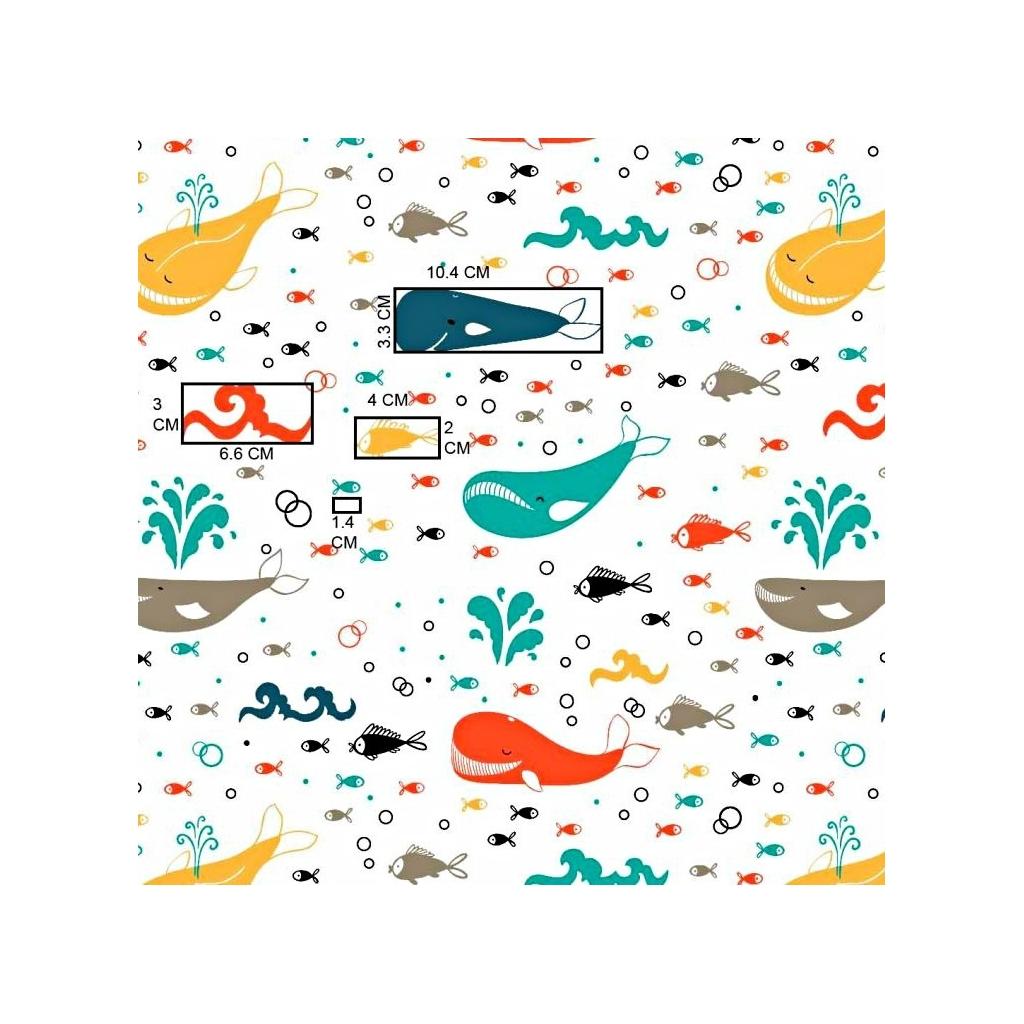 Tkanina w wieloryby kolorowe na białym tle