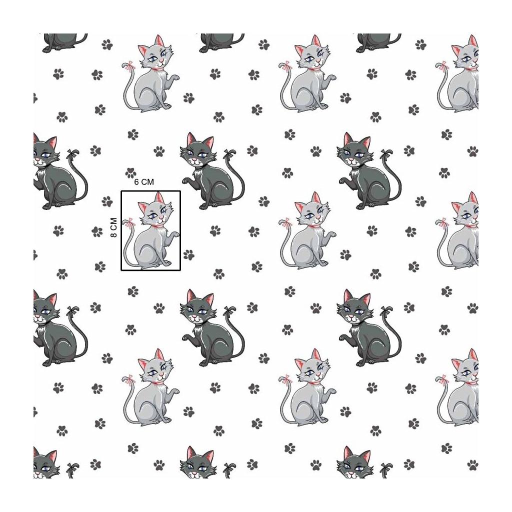 Tkanina w kotki z łapkami na białym tle