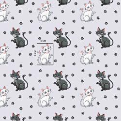 Tkanina w kotki z łapkami na jasno szarym tle