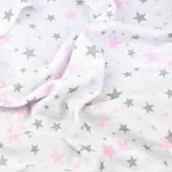 Tkanina Muślin bawełniany gwiazdki różowo szare na białym tle