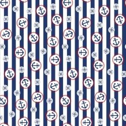 Tkanina w koła marynarskie na biało niebieskich pasach