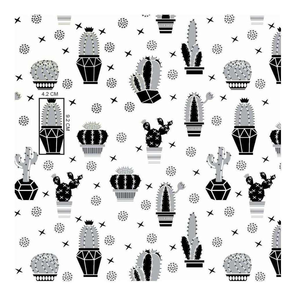 Tkanina w kaktusy szaro czarne na białym tle