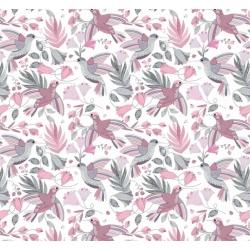 Tkanina kolibry szaro różowe na białym tle