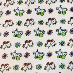Tkanina Polar plus  konie z kwiatkami na ecru tle