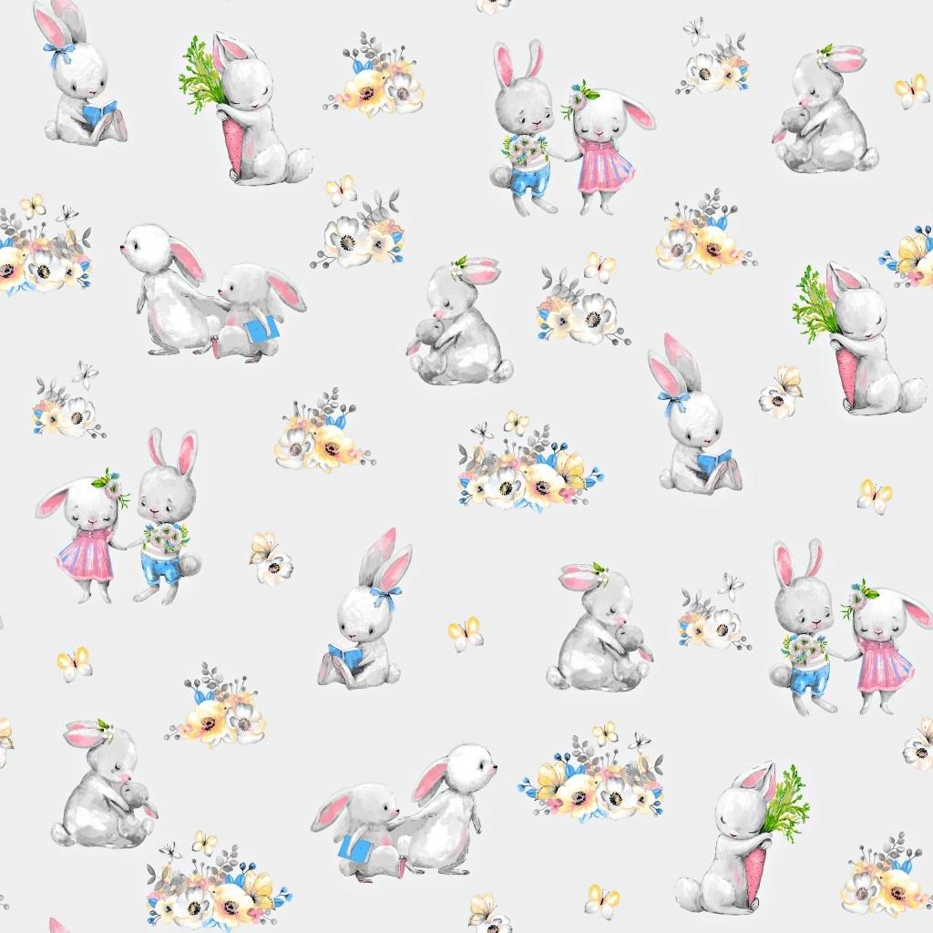 Tkanina zakochane króliki na jasno szarym tle