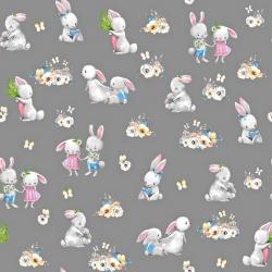 Tkanina zakochane króliki na ciemno szarym tle