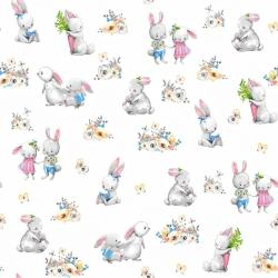 Tkanina zakochane króliki na białym tle