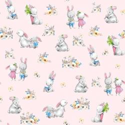 Tkanina zakochane króliki na różowym tle