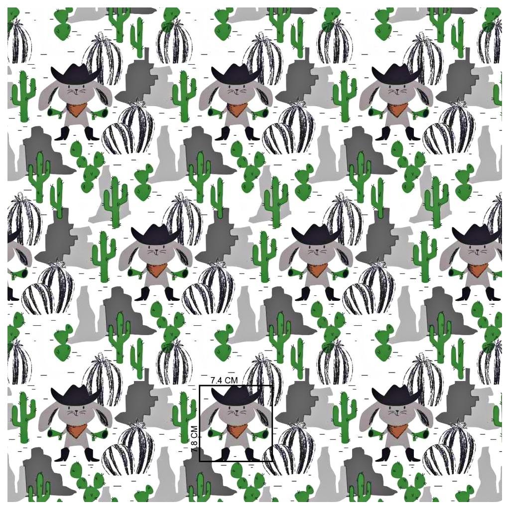 Tkanina króliki na dzikim zachodzie zielono szare