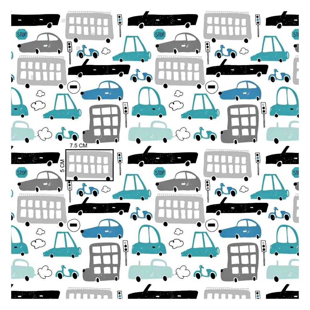 Tkanina samochody szaro turkusowe na białym tle