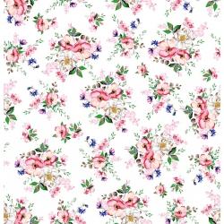 Tkanina bukiety jabłoni na białym tle