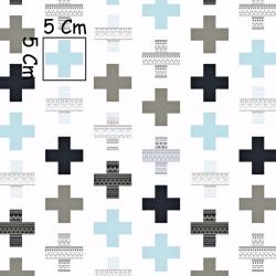 Tkanina w plusy wzorzyste szaro turkusowe na białym tle