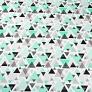 Tkanina w trójkąty w kropki miętowo szare na białym tle